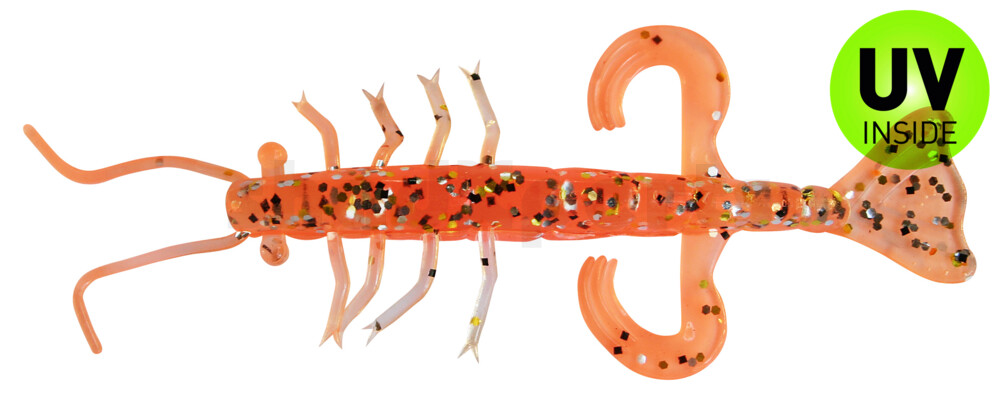 "002208B032 Shrimp 3"" (ca. 8,0 cm) orange / klar gold,schwarz Glitter"